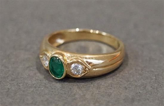 14 Karat Yellow Gold, Emerald and Diamond Ring, Size: 6-3/4, 2.3 dwt.