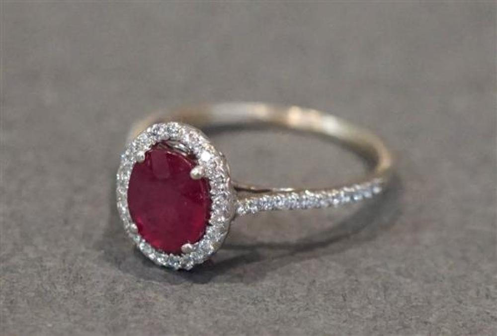 18 Karat White Gold, Ruby (approx 1.35 ct) and Diamond (approx .35 ct) Ring, Size: 6-1/2