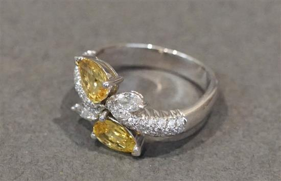 Platinum, Yellow Sapphire (approx 1.50 ct) and Diamond (approx .50 ct) Ring, Size: 5-3/4, 4.44 dwt.