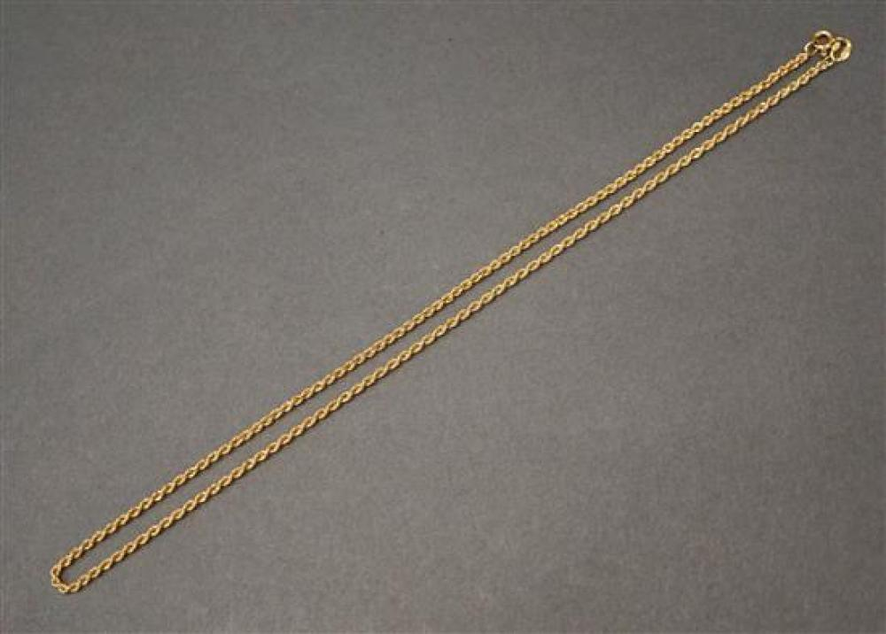 18 Karat Yellow Gold Necklace, L: 18 inches, 6.7 dwt.