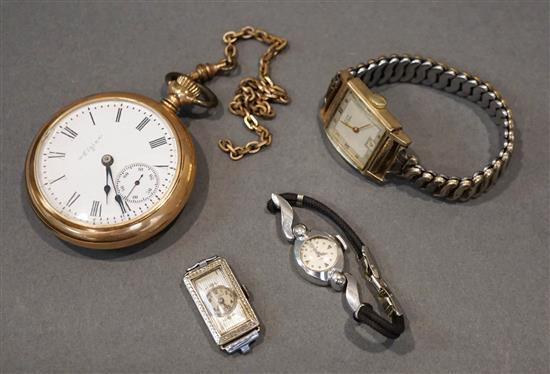 14-Karat White-Gold Case Watch (No Band), Two Gold Filled Watches and an Elgin Gold Filled Open Face Pocket Watch