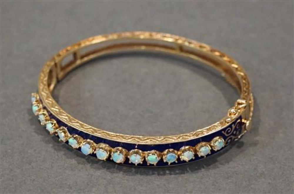 Tested 14 Karat Yellow Gold, Opal and Royal Blue Enamel Bangle Bracelet, L: 6-1/2 inches, 14.3 gross dwt.