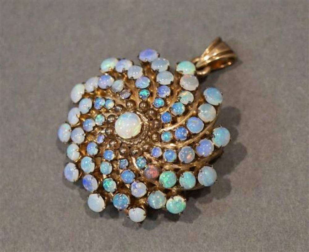 Tested 10 Karat Yellow Gold Opal 'Spiral' Pendant Brooch, L: 1-1/2 inches, 7.4 gross dwt.