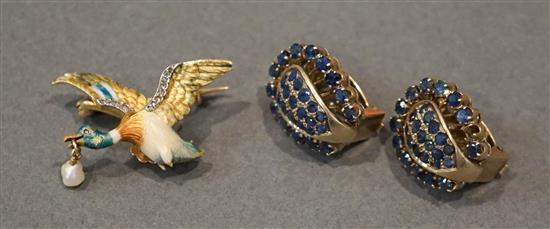 Pair 10 Karat Yellow Gold Blue Sapphire Ear Clips (missing one sapphire), 5.3 gross dwt and 18 Karat Yellow Gold Diamond, Pearl and Ena