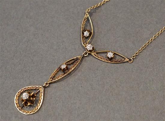 14 Karat Yellow Gold Diamond Necklace, L: 17-1/2 inches, 2.4 gross dwt.
