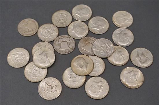 Collection with Seven U.S. Silver and Sixteen Silver Clad Half-Dollars