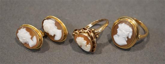18 Karat Yellow Gold Shell Cameo Ring, Pair Pierced Earrings and 10 Karat Yellow Gold Shell Cameo 'Heart' Ring