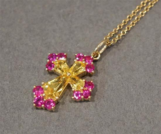 14 Karat and 18 Karat Yellow Gold, Ruby and Yellow Sapphire Cross Pendant, L: 11 inches
