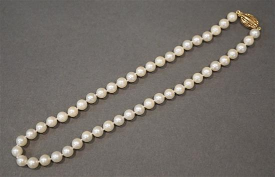 14 Karat Yellow Gold 16-inch Pearl (7mm each) Necklace with 14 Karat Yellow Gold Clasp