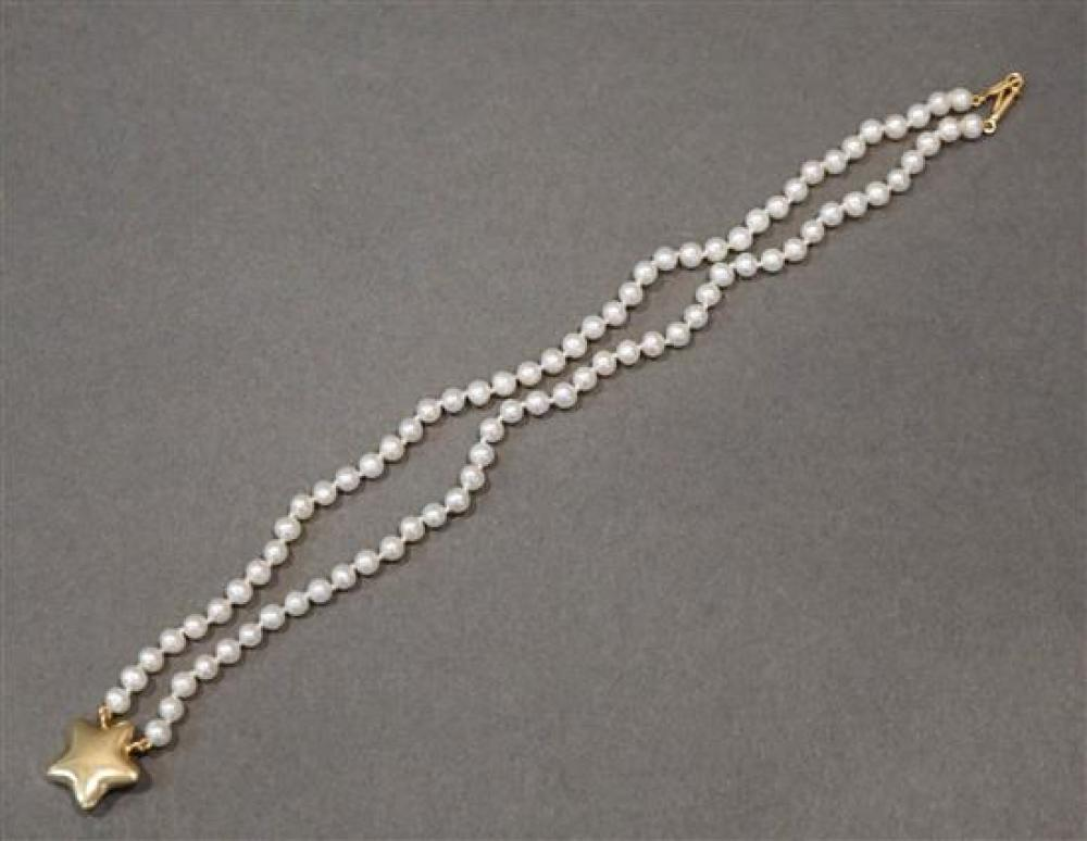 14 Karat Yellow Gold, Pearl and Gold Necklace, L: 14 inches