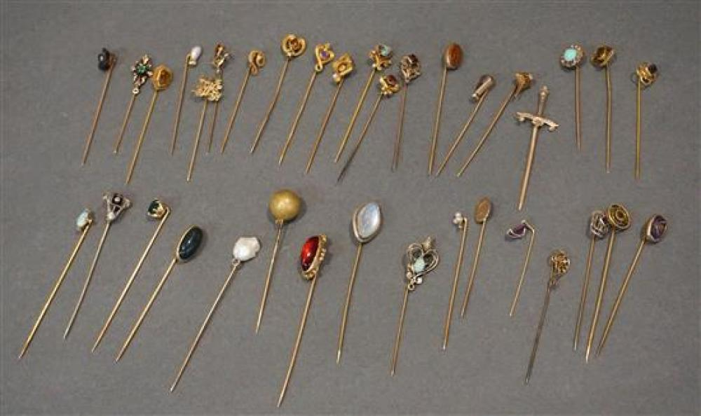 Collection of Mostly 10-Karat Gold Stickpins, 36.6 gross dwt