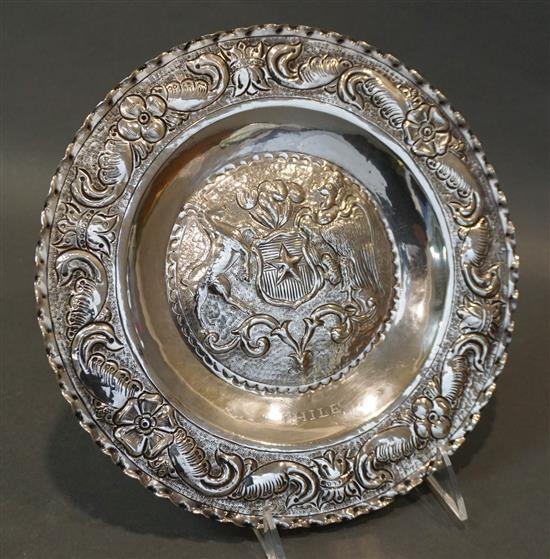 900-Silver 'Chilean Coat of Arms' Tray, 11.9 oz