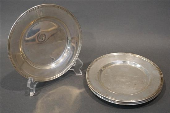 Six Krower Sterling Bread and Butter Plates, 14.2 oz