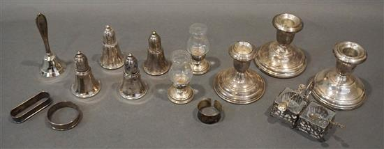 Group with Weighted Sterling Candleholders and Salt and Pepper Shakers