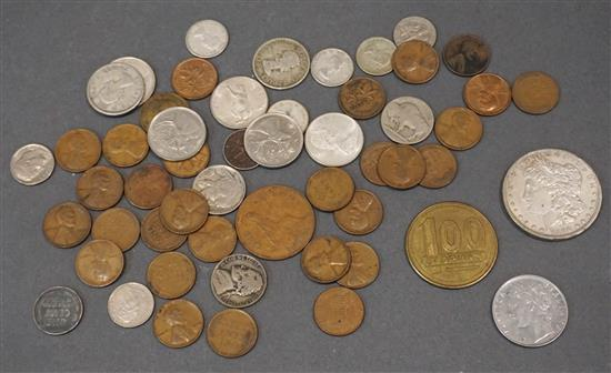 1896-D Morgan Silver Dollar, 26 Lincoln Wheat Cents, 1943 Steel Penny, Three Nickels and Small Collection with Foreign Coins
