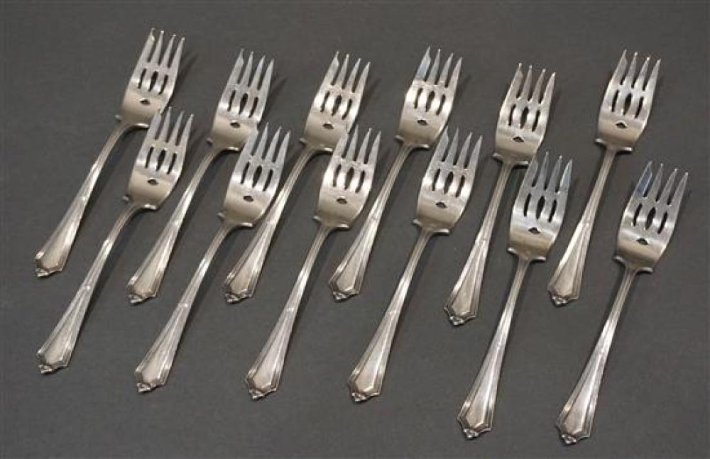 Twelve Gorham Sterling Salad Forks, 11.5 oz