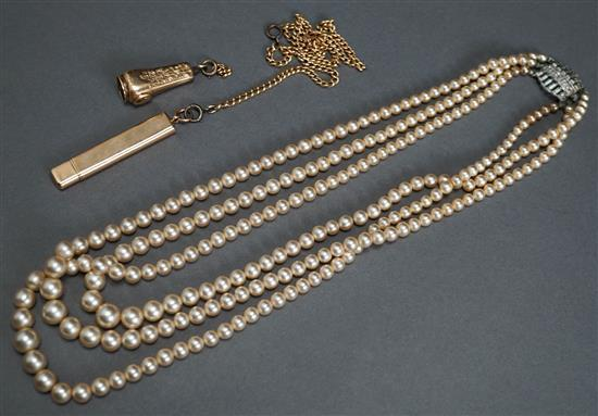 Gold Filled Watch Chain, 10 Karat Yellow Gold Mounted Pencil, Gold filled Cigar Cutter and Faux Pearl Necklace