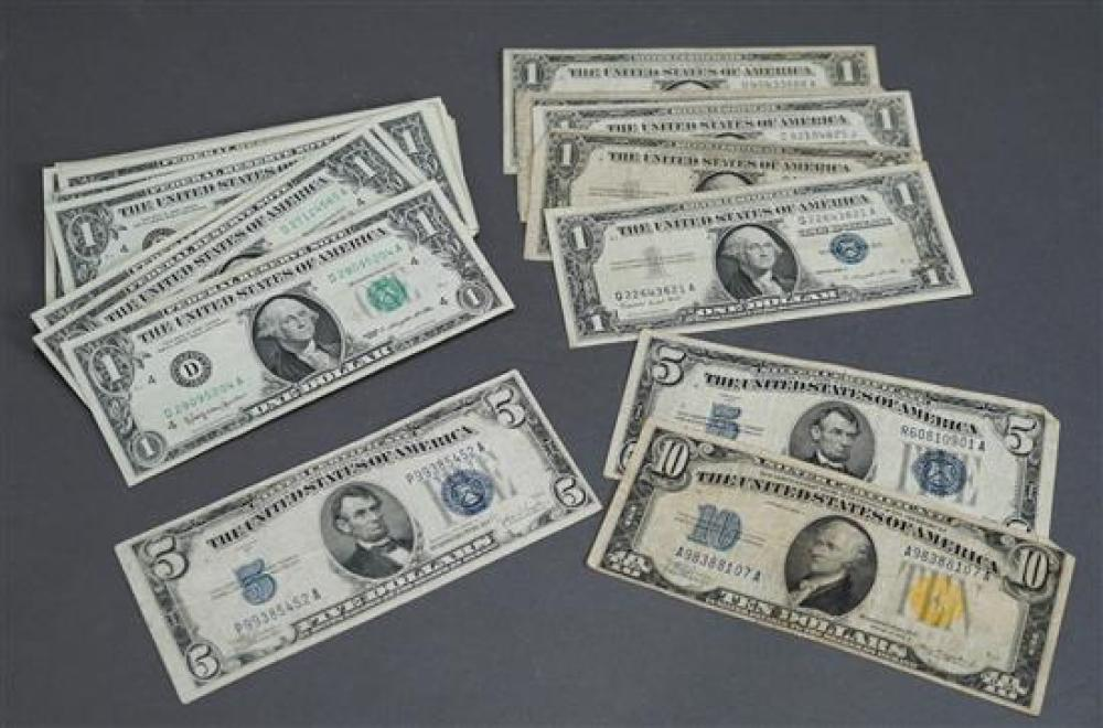 One $10 Silver Certificate, Two $5 Silver Certificates, Five $1 Silver Certificates and Thirty-Two Series 1963 $1 Bills