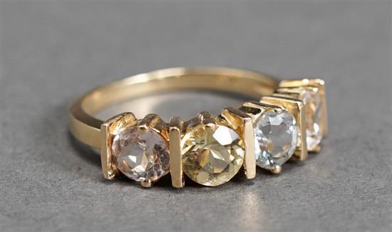 14-Karat Yellow-Gold and Gem Set Ring, 1.9 gross dwt, Size: 7