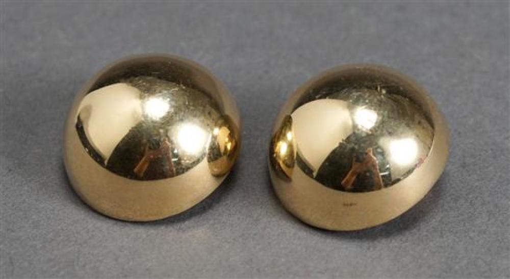 Pair of 14 Karat Yellow Gold Ear Clips, 11.2 dwt., D: 1 inch