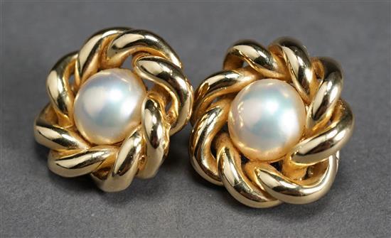 Pair 14 Karat Yellow Gold Button Pearl Ear Clips, 14.2 gross dwt, D: 1 inch