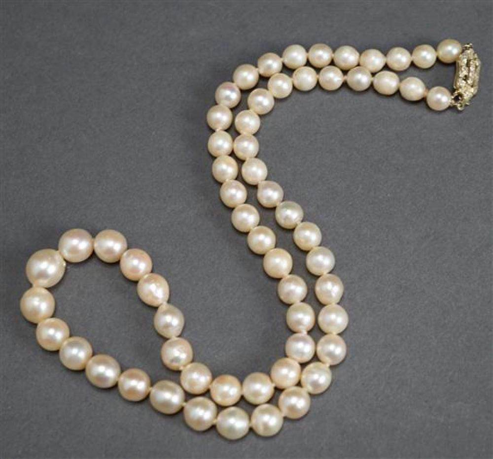 14 Karat yellow Gold, Diamond and Freshwater Pearl Necklace, approx. 5mm, L: 18 inches