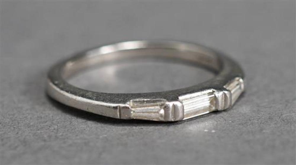 Galt Platinum and Three Baguette Cut-Diamond Band, 2.5 dwt., Size: 6