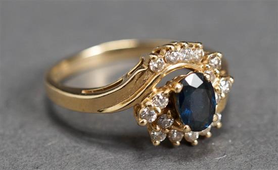 14 Karat Yellow Gold, Blue Sapphire and Diamond Ring, 2.1 gross dwt., Size: 6-1/4