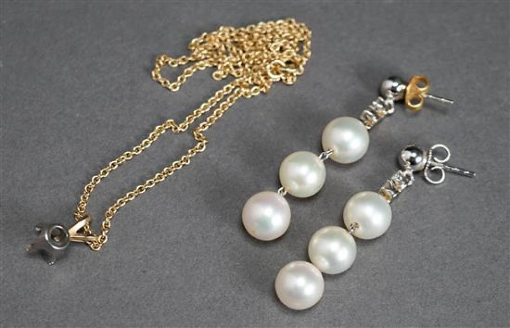 Pair of 14 Karat White Gold, Cultured Pearl and Diamond Earrings and 14 Karat Yellow Gold Necklace (2.1 dwt)