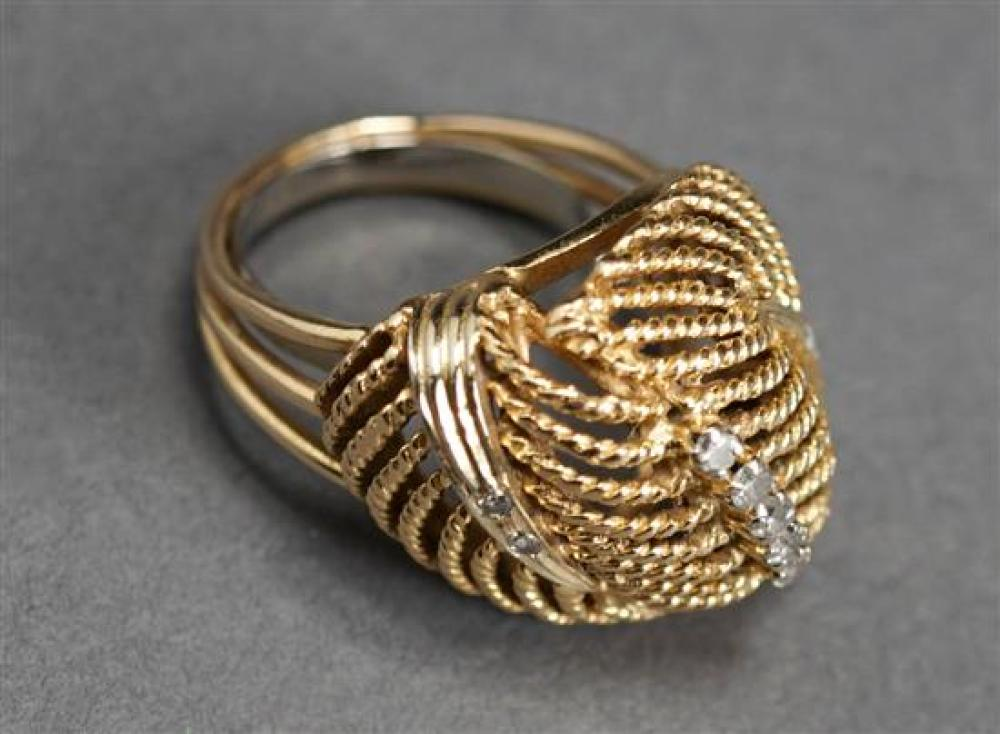 Tested 14 Karat Yellow Gold and Diamond Ring, 7.3 gross dwt., Size: 7