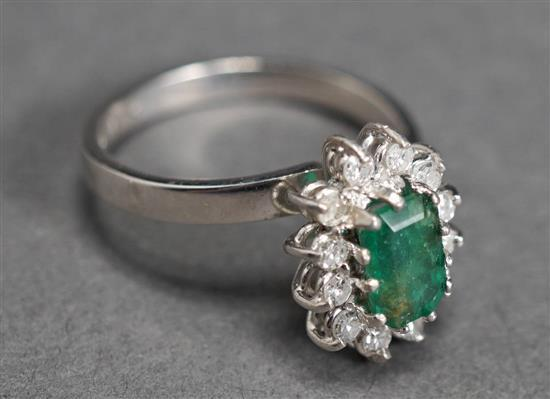 14 Karat White Gold, Emerald and Diamond Ring, 2.8 gross dwt., Size: 7-1/2