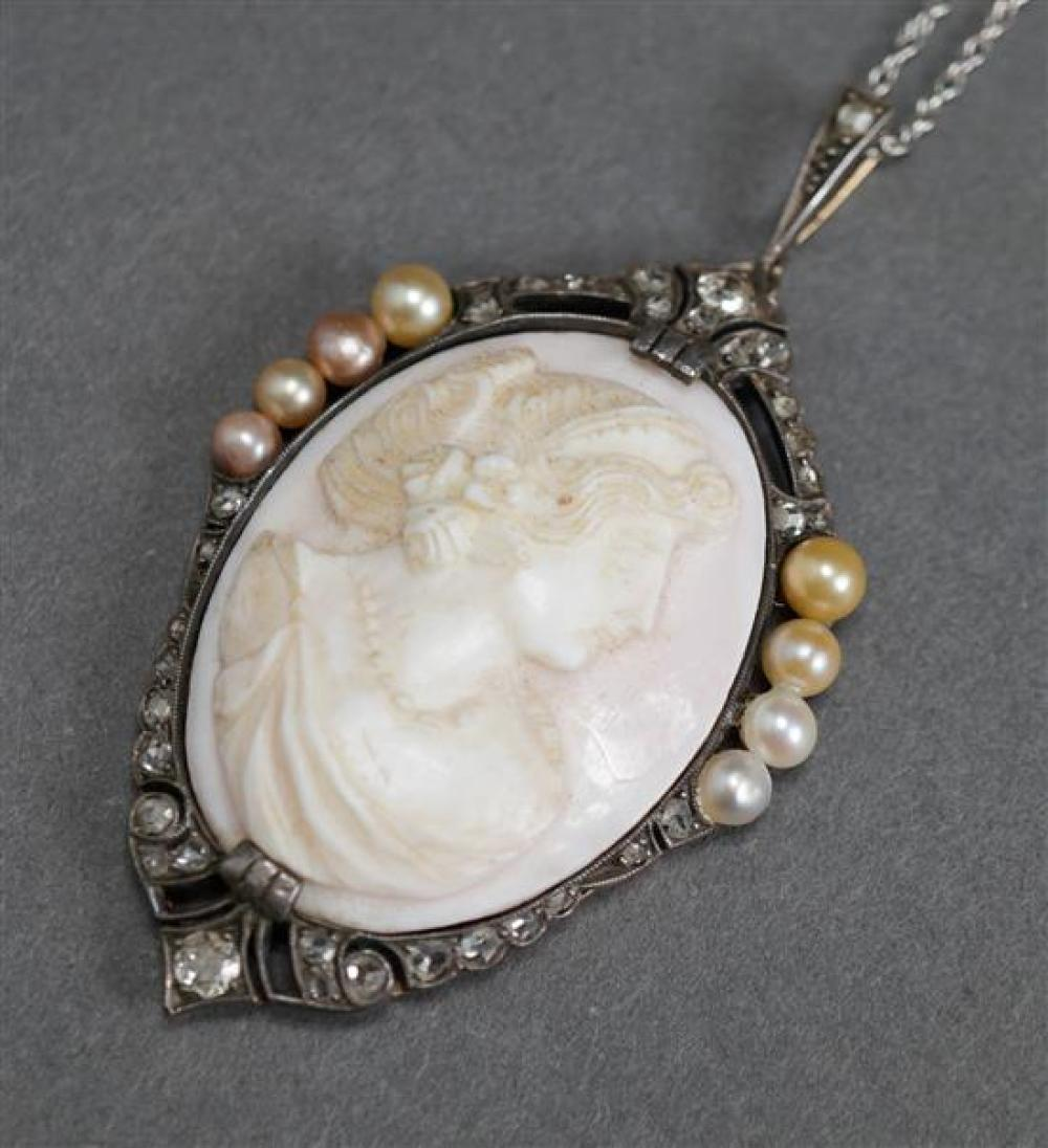 Victorian Yellow Gold Silver Topped Diamond, Pearl and Carved Angel Skin Coral Pendant