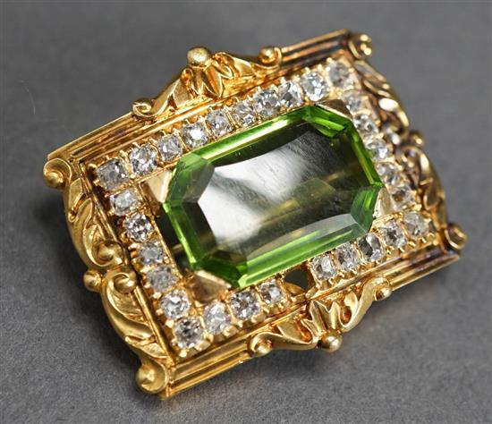 18 Karat Yellow Gold, Peridot and Diamond Brooch Pendant, Possibly French (missing one diamond), 7.50 ct Peridot, D=1.50 tcw , 7.2 dwt