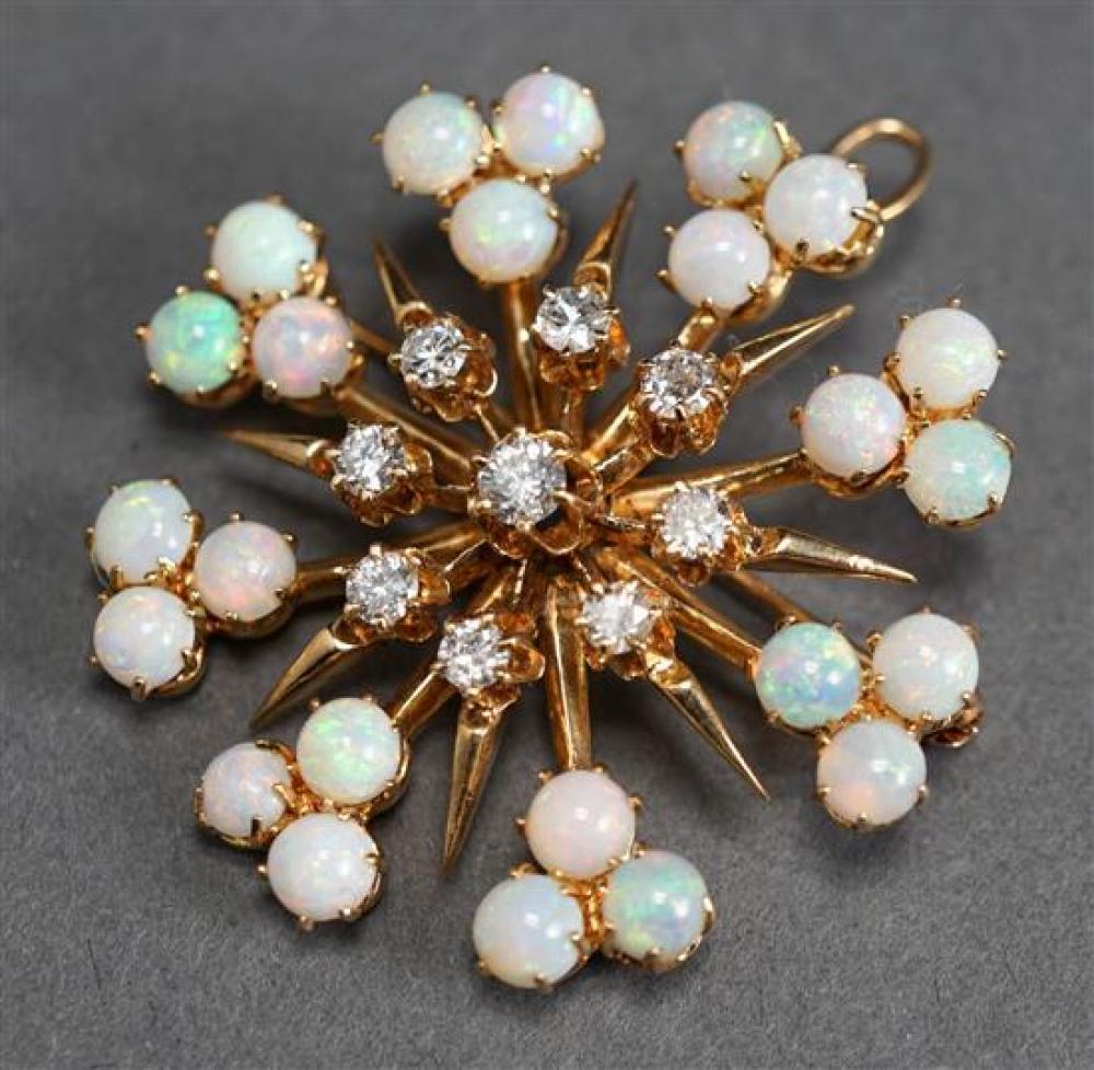 14 Karat Yellow Gold, Diamond and Opal 'Starburst' Pendant, 6.6 gross dwt., L: 1-1/2 inches