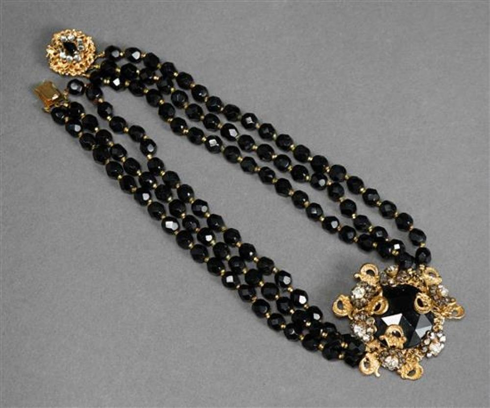 Miriam Haskell Jet Glass Bead Necklace