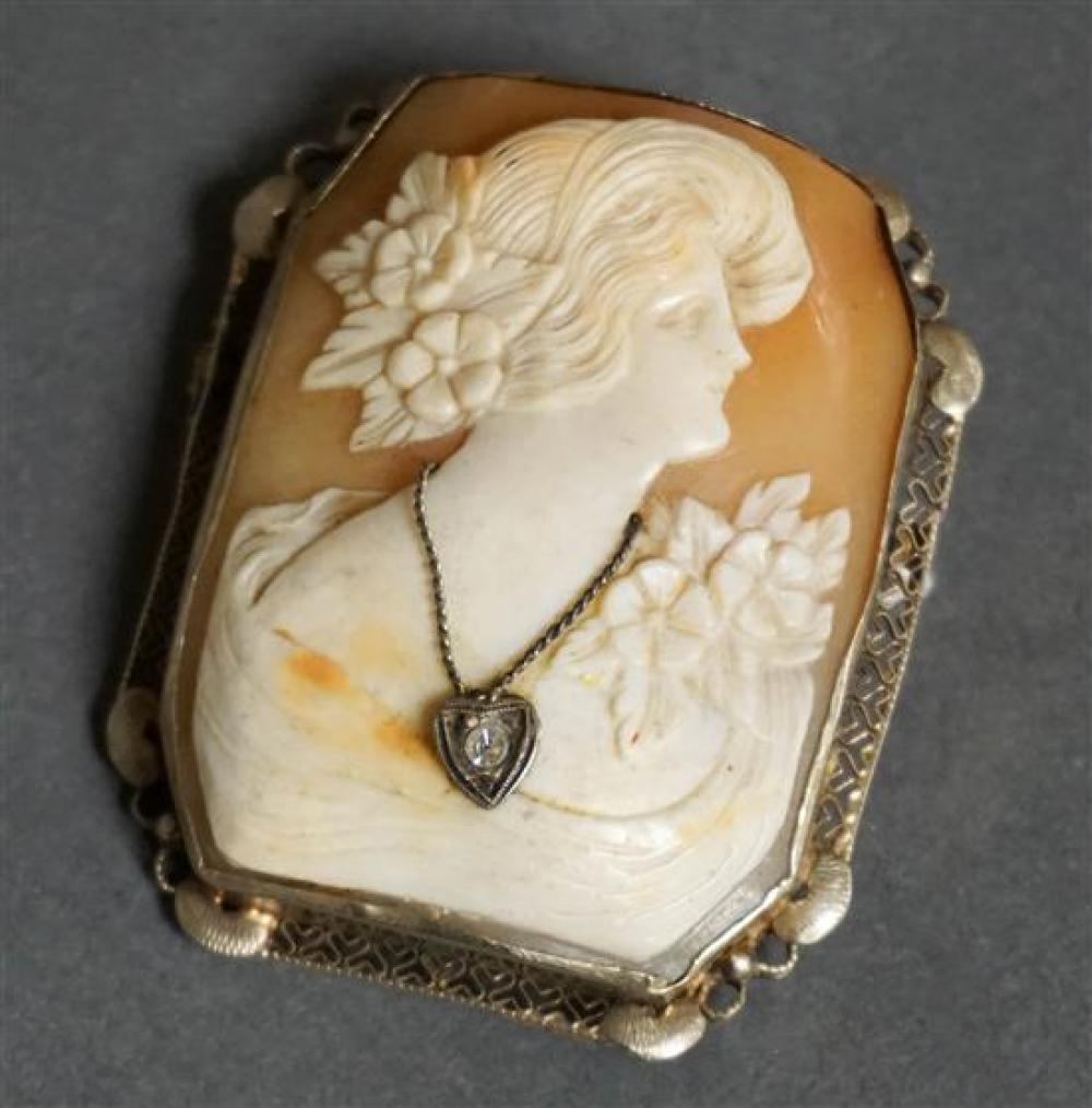 14-Karat White-Gold Mounted, Diamond and Shell Cameo Pendant-Brooch