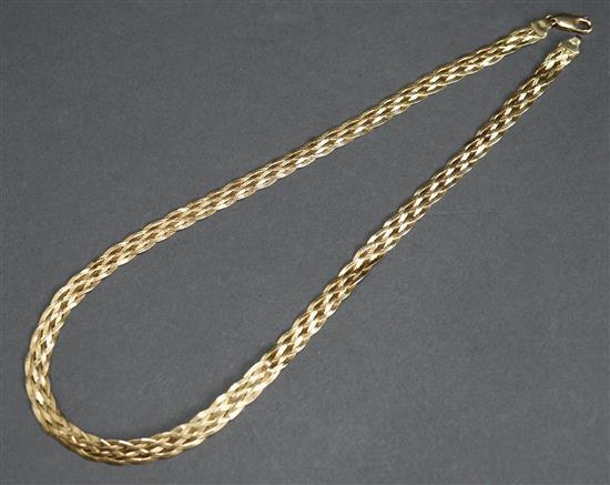 18 Karat Yellow Gold Braided Necklace, 10.5 dwt., L: 18 inches