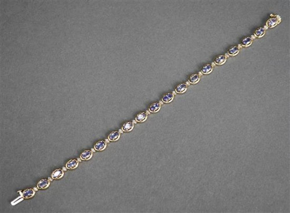14 Karat Yellow Gold, Tanzanite and Diamond Bracelet, 5.7 dwt., L: 7 inches