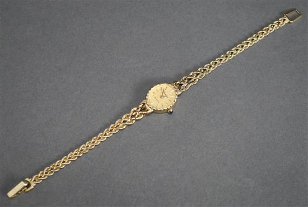 Ladies Geneve 14 Karat Yellow Gold Quartz Wristwatch, 7.9 gross dwt without movement, L: 7 inches