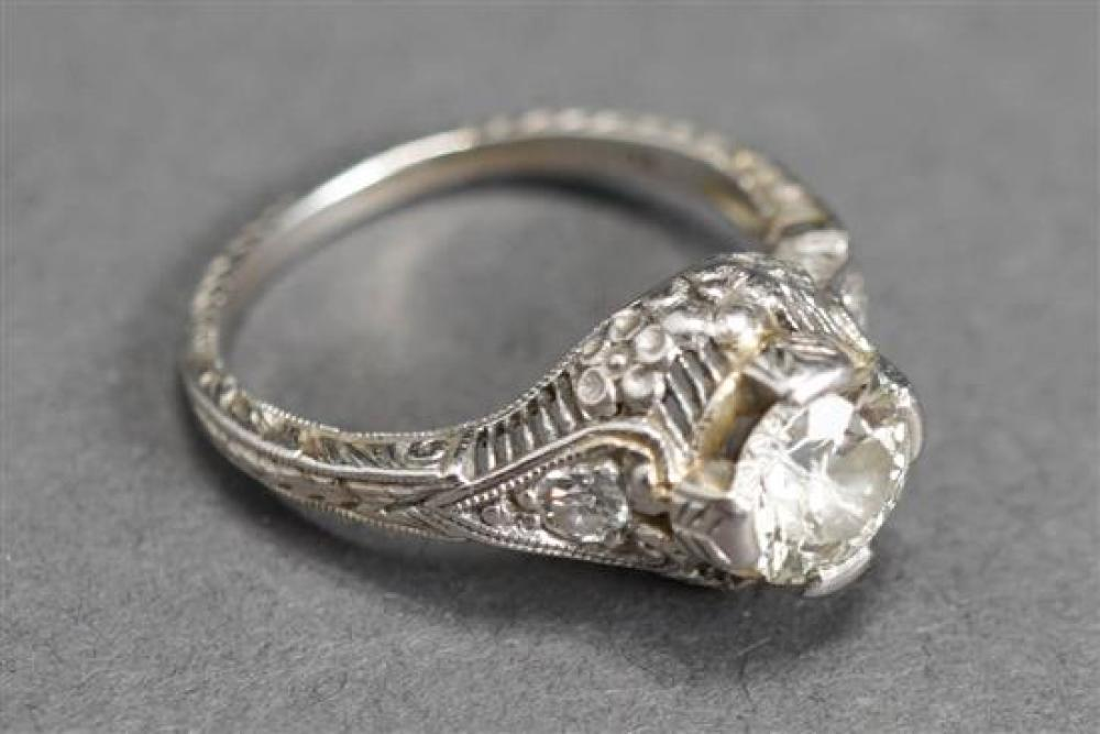 Art Deco Platinum Diamond Ring, approx. .95 carat, IJ/I2, Size: 5-1/4