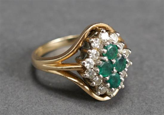14 Karat Yellow Gold, Emerald and Diamond Ring, 3.1 gross dwt., Size: 5-1/2