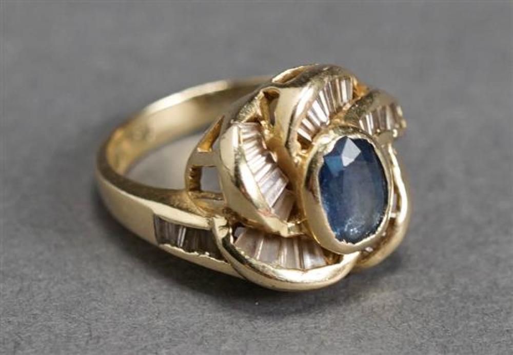 14 Karat Yellow Gold, Blue Sapphire and Diamond Ring, 3.8 gross dwt., Size: 6