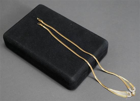 Italian 18 Karat Tri-Color Gold Diamond Necklace, 10.3 dwt., L: 16-3/4 inches