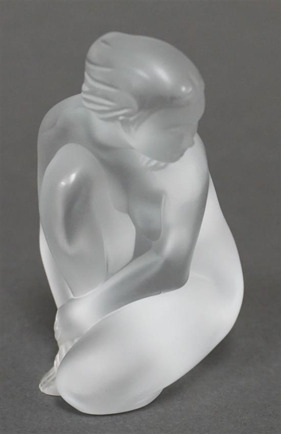 Lalique Frosted Crystal Seated Woman, Height: 4 in