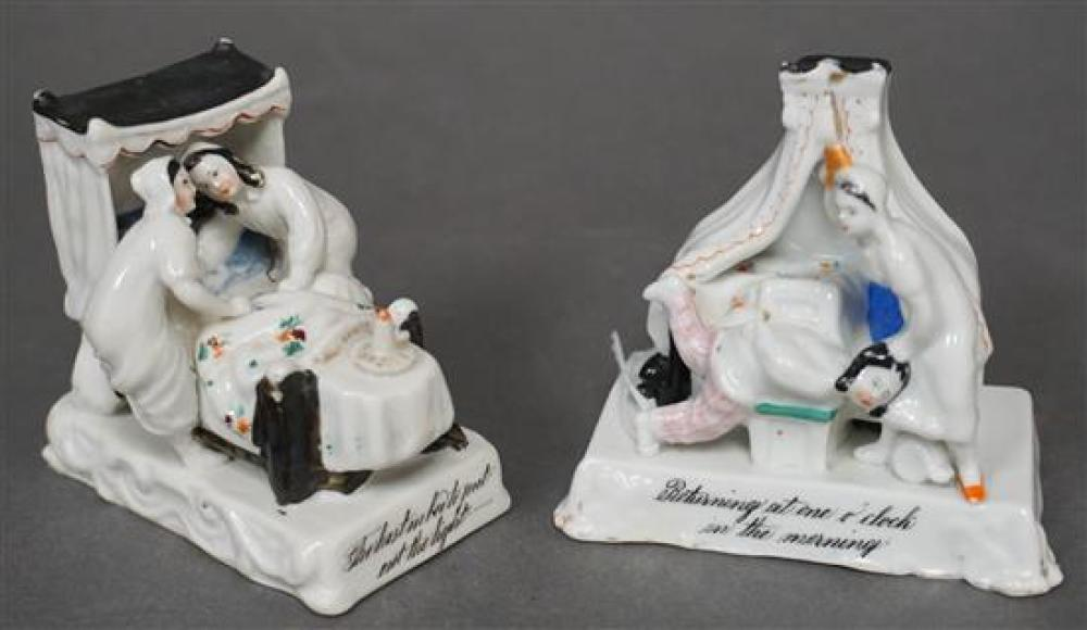 Pair English Porcelain Figural Groups, Height of Taller: 3-1/4 in