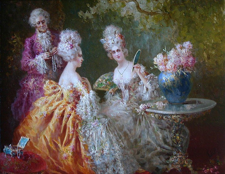Zeloni, Italian, oil ladies in parlour interior