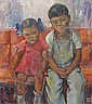 Stevens Canadian oil portrait of Children, Dorothy Hill Stevens, Click for value