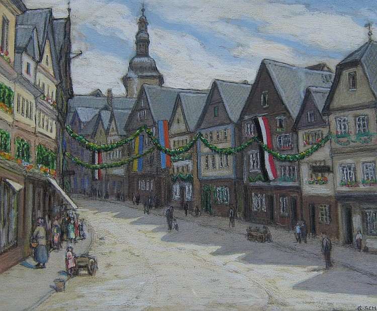 Gertrud Schafer 3 Assorted Townscapes & Landscapes from the Siegen/Wesfalen region of Germany