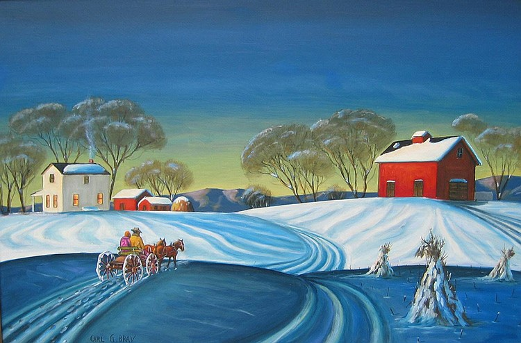 Carl Bray, American oil, winter landscape