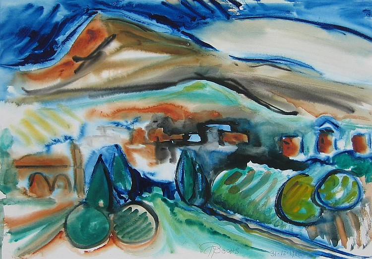 Ochs, Canadian watercolour of village in landscape